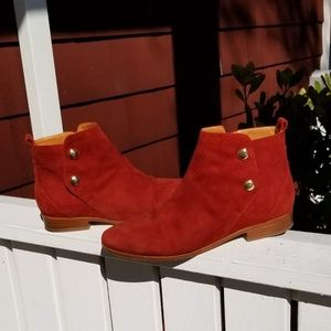 Sezane Red Suede Gold Button Ankle Boots, size 39